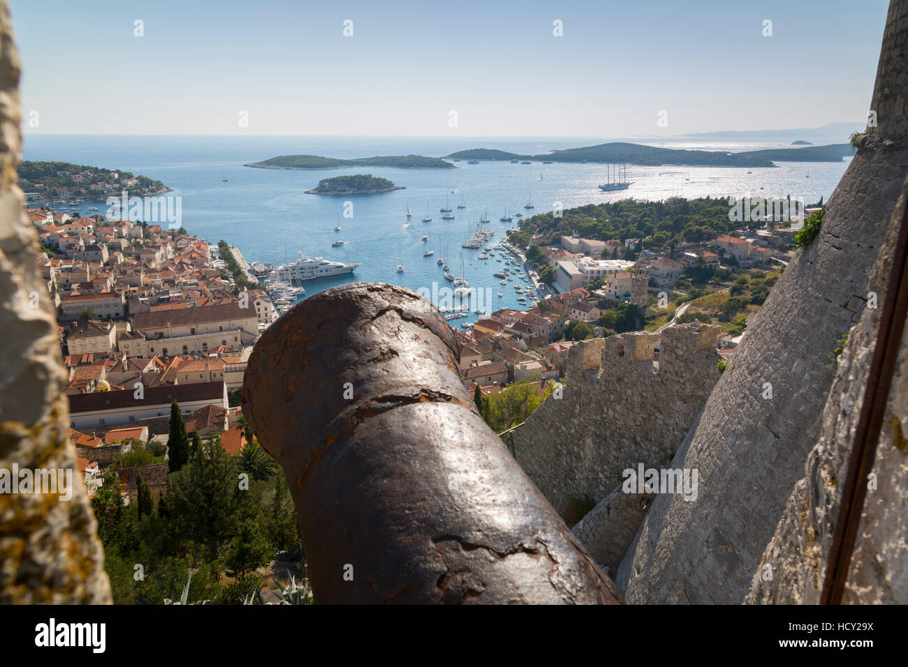 View over Hvar from Spanish Fortress, Hvar Island, Dalmatia, Croatia - Stock Image