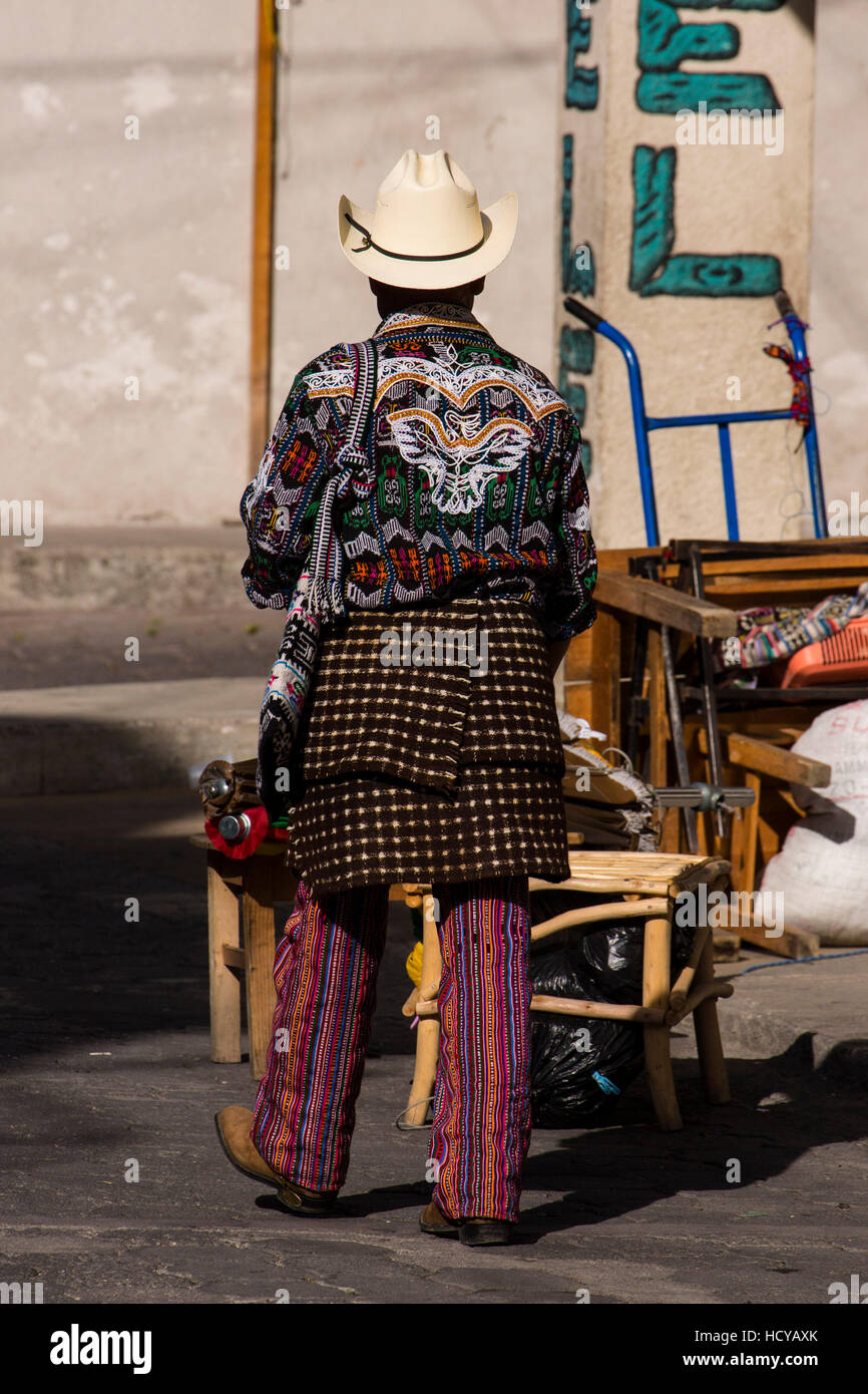 A man from Sololá, Guatemala wearing the traditional dress of that city, including the stylized bat-design - Stock Image