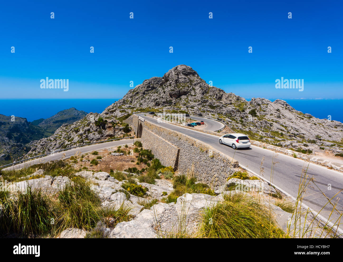 Spiral bridge on the road to Sa Calobra Mallorca - Stock Image