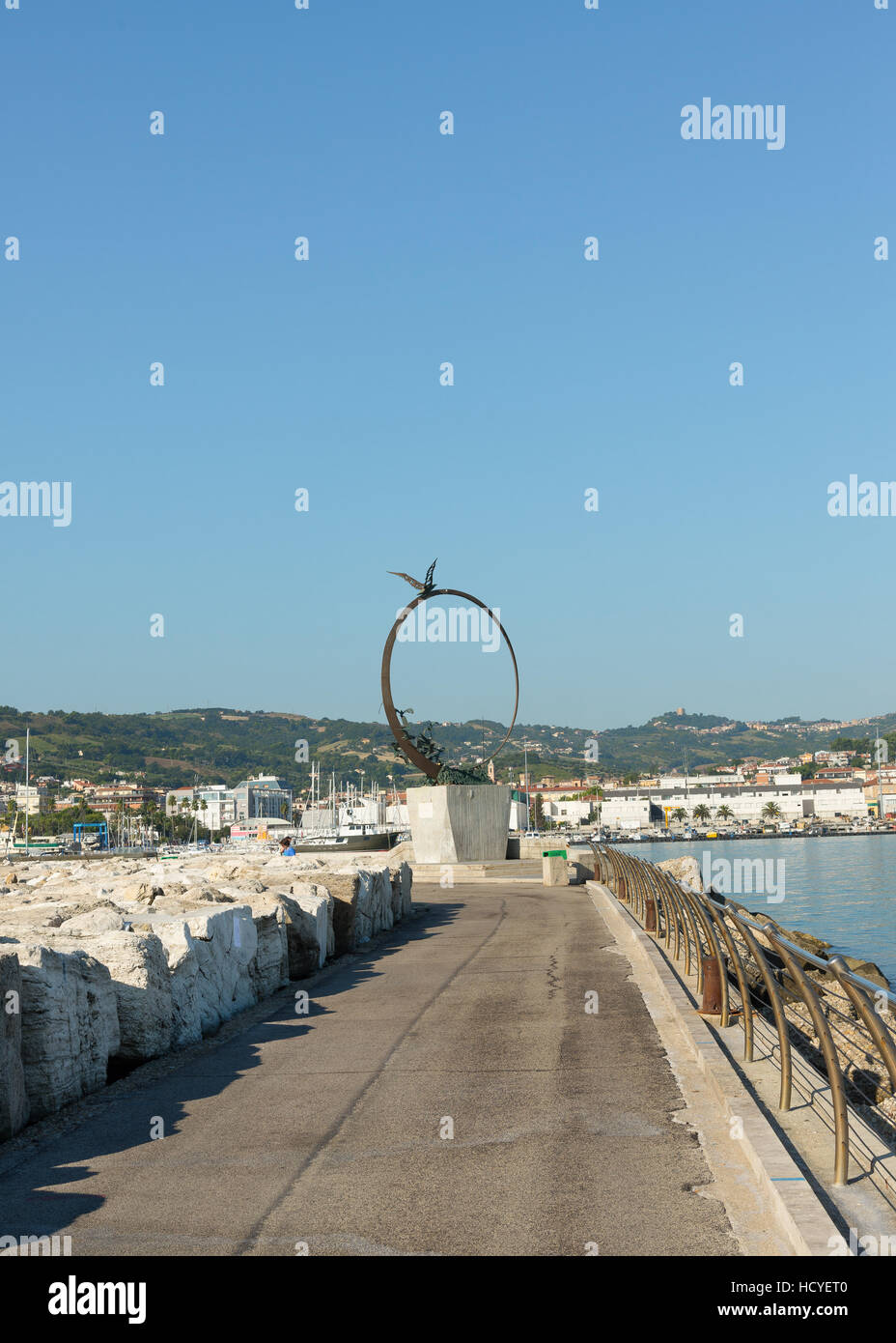SAN BENEDETTO DEL TRONTO, ITALY - AUGUST 29, 2016: detail of monument freedom symbol seagull Jonathan Livingston - Stock Image