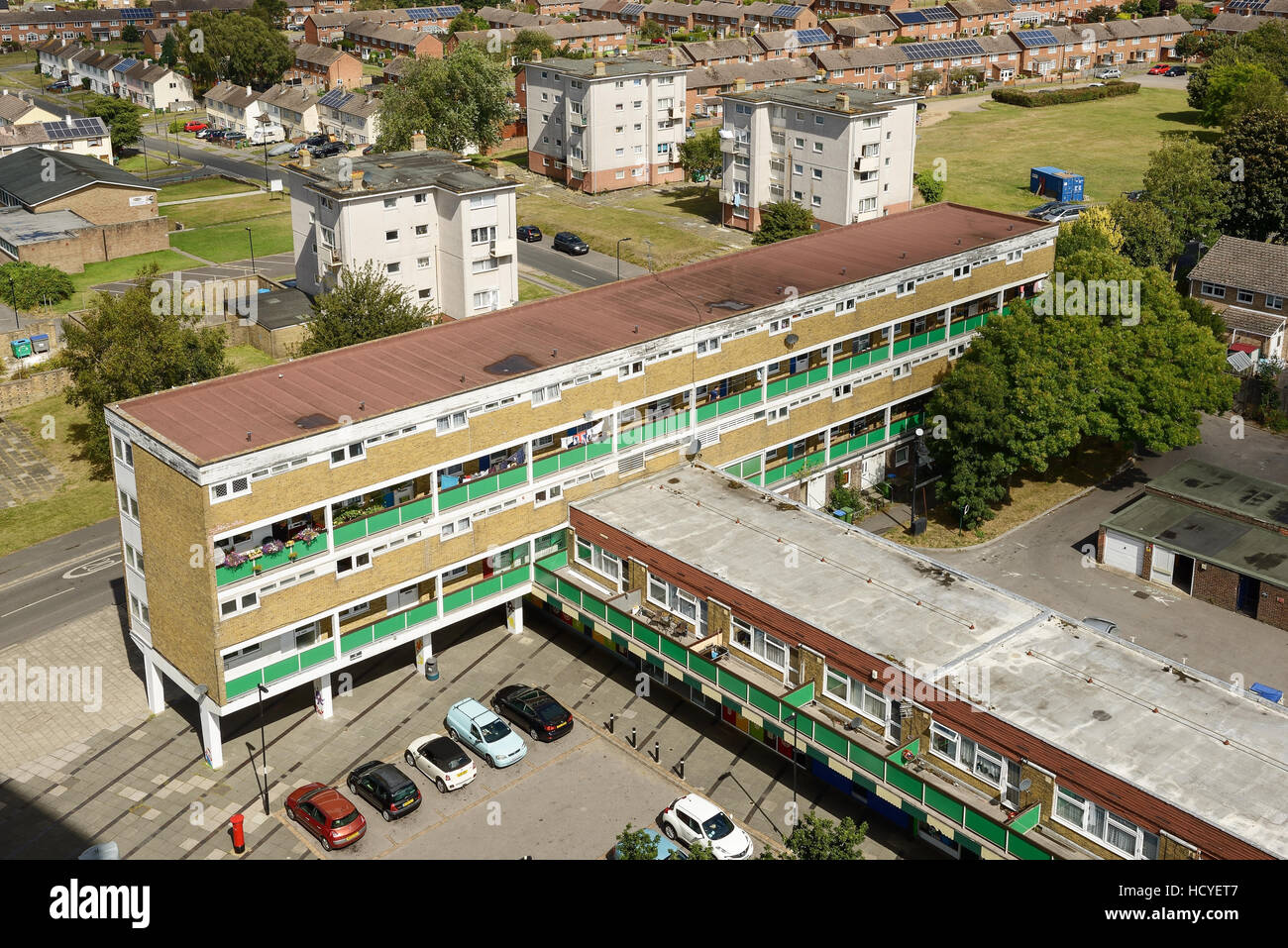Social housing flats on the outskirts of Southampton UK - Stock Image