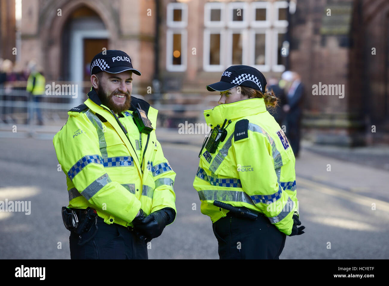 Two police officers in Chester city centre UK - Stock Image