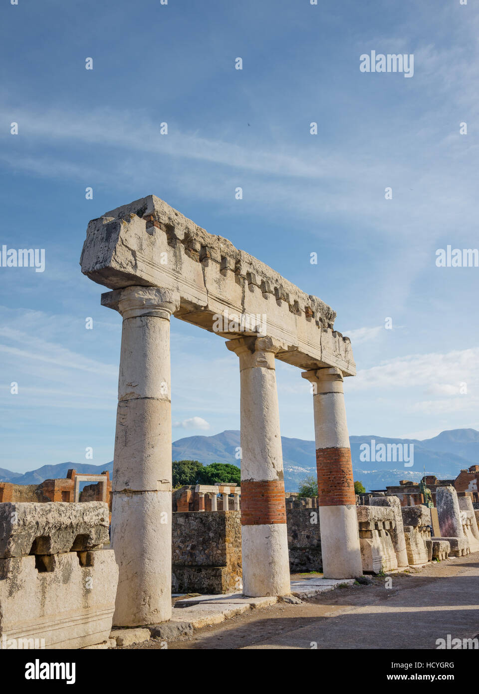 POMPEII, ITALY- NOVEMBER 13, 2016: Pompeii ruins was declared in 1997 by UNESCO World Heritage Site. - Stock Image