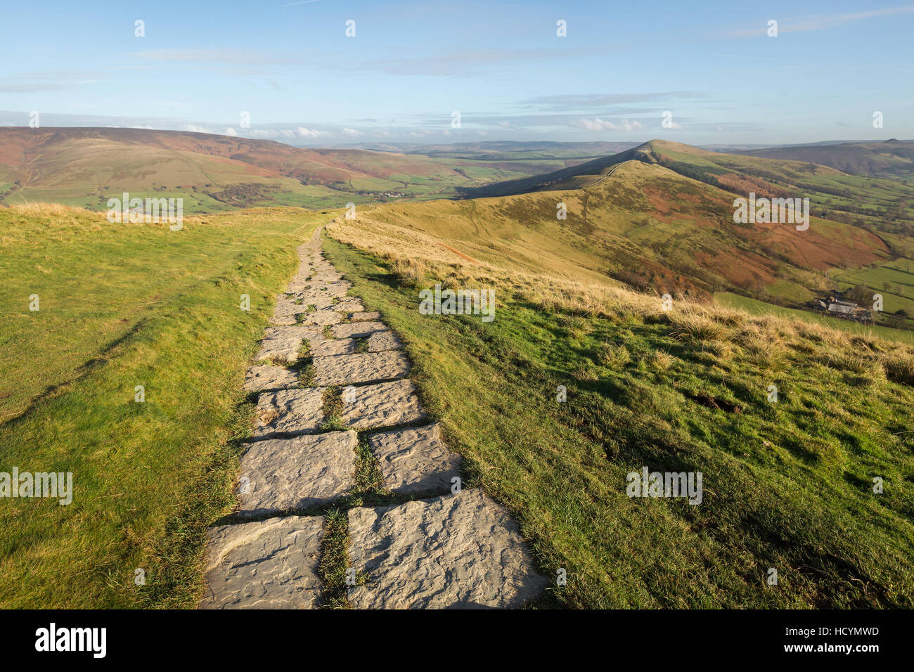 Stone footpath running along the hill tops from  Mam Tor to Hollins Cross near Castleton in the Peak District, Derbyshire, - Stock Image