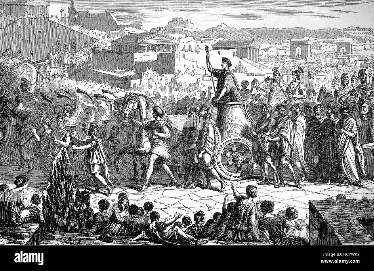 triumphal of Publius Cornelius Scipio Africanus, 236BC - 183 BC, Karthago, the story of the ancient Rome, roman - Stock Image
