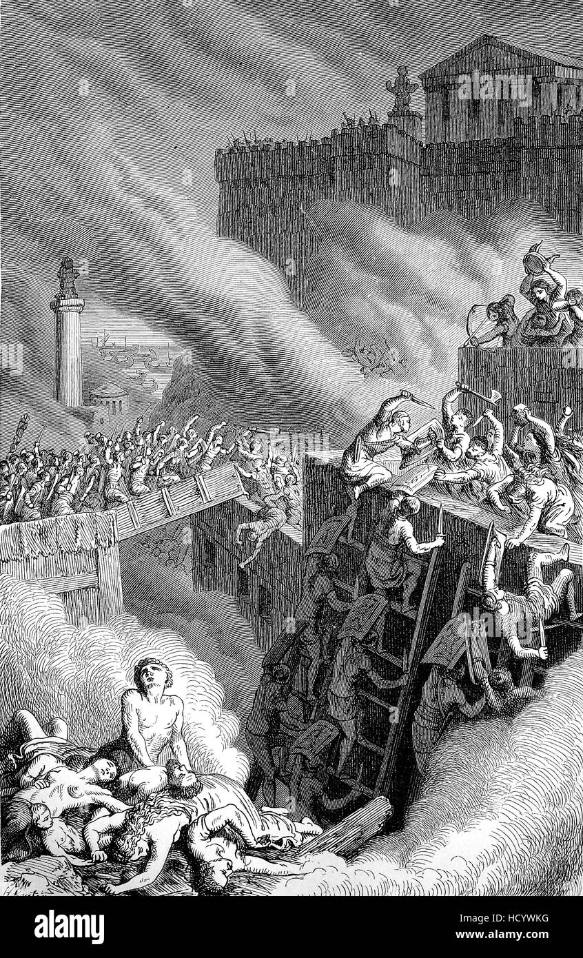 The Third Punic War, 149 BC -146 BC, ended Carthage's independent existence and destroyed the city, the story - Stock Image