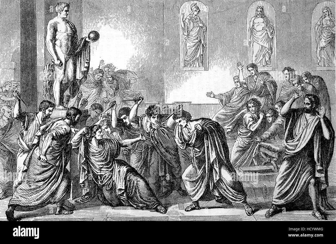 The Death of Caesar, 44 BC, Gaius Julius Caesa, Rome, the story of the ancient Rome, roman Empire, Italy - Stock Image