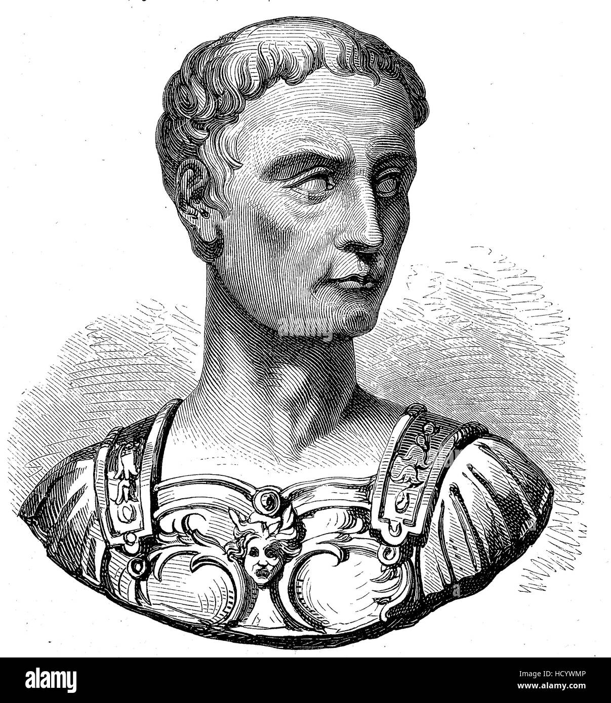 Gaius Julius Caesar, 100 BC - 44 BC, Julius Caesar, the story of the ancient Rome, roman Empire, Italy - Stock Image
