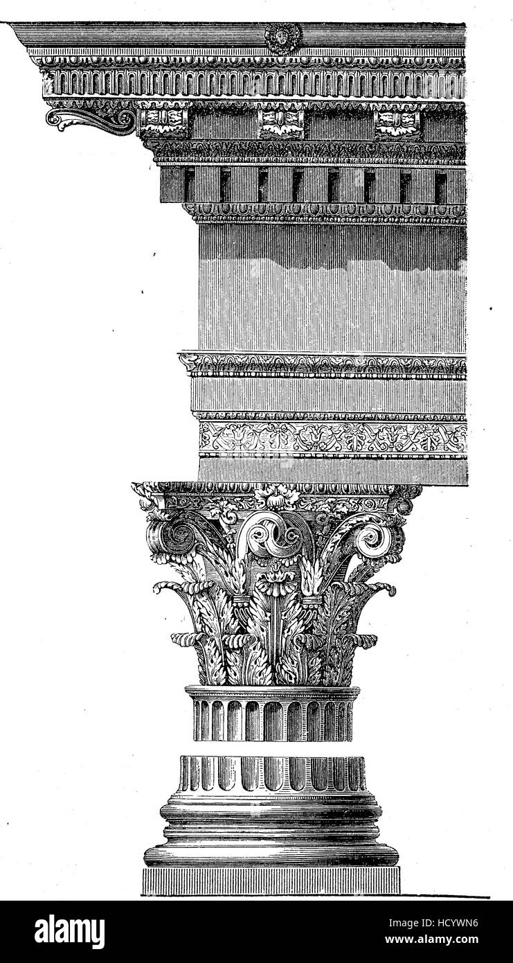 Corinthian Capital from the Pantheon of Rome, the story of the ancient Rome, roman Empire, Italy - Stock Image