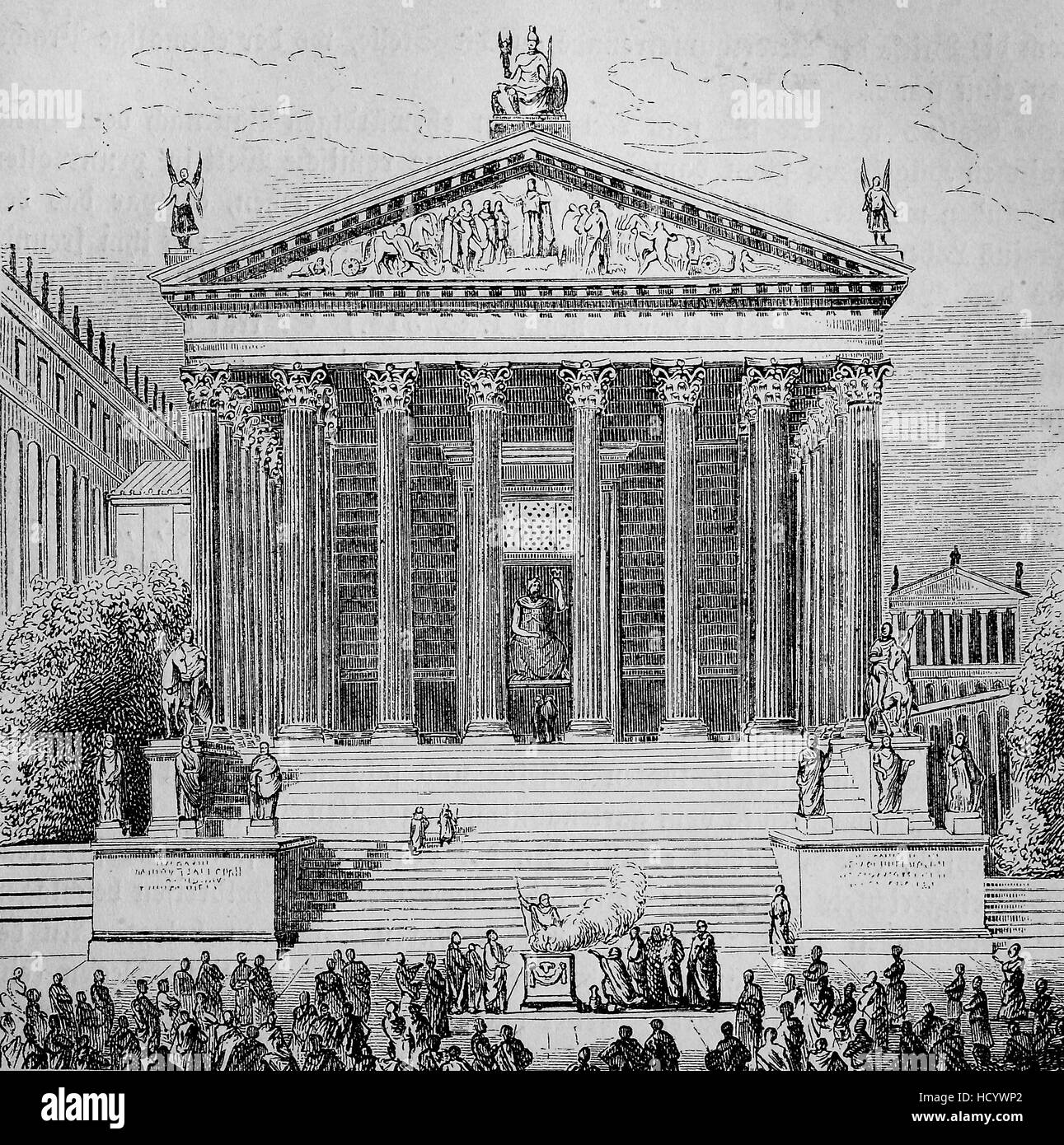 Tempel of Romulus at the Forum Romanum in ancient Rome, Jupiter Stator Tempel, the story of the ancient Rome, roman - Stock Image