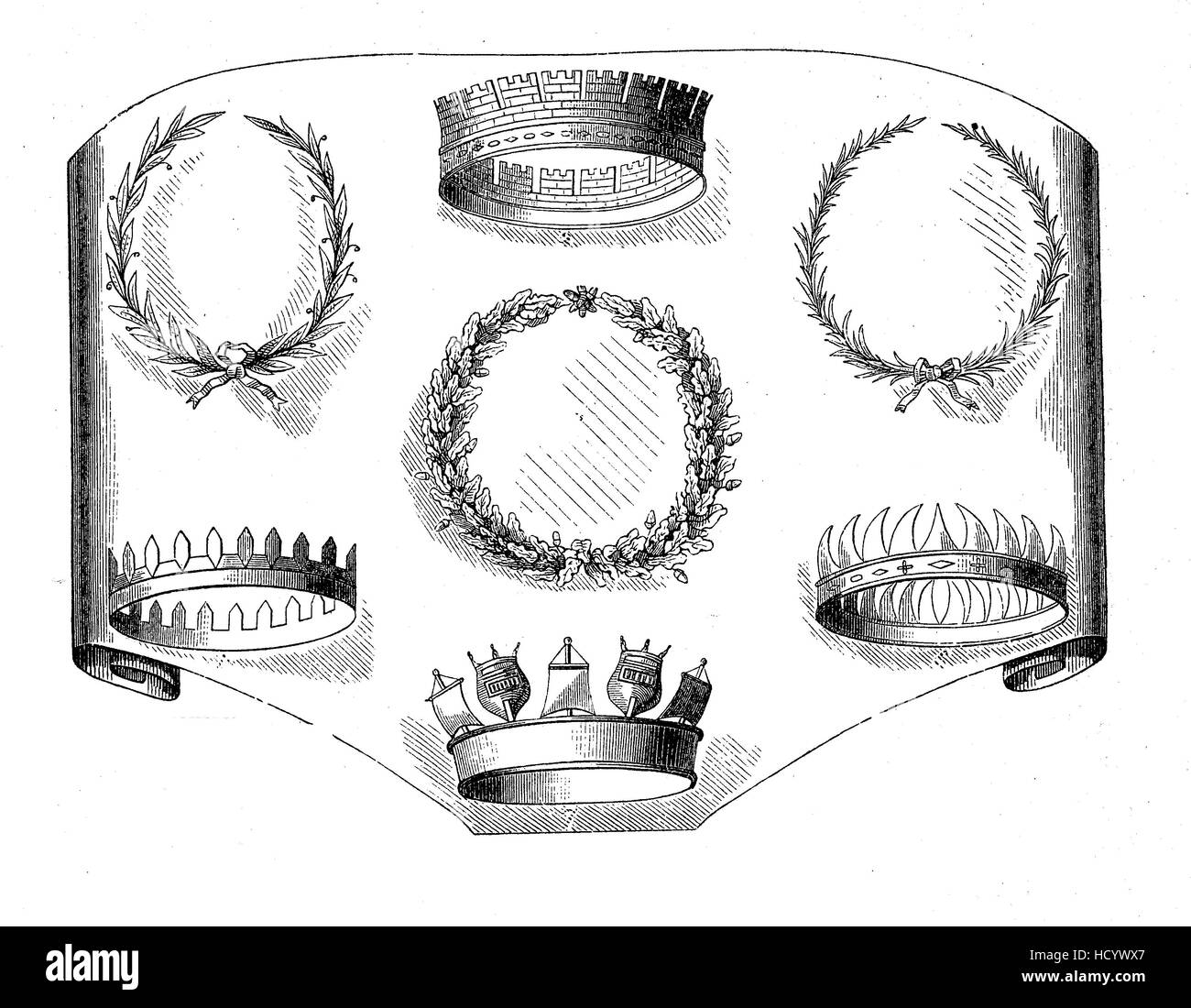 roman crowns ao ancient Rone, the story of the ancient Rome, roman Empire, Italy - Stock Image