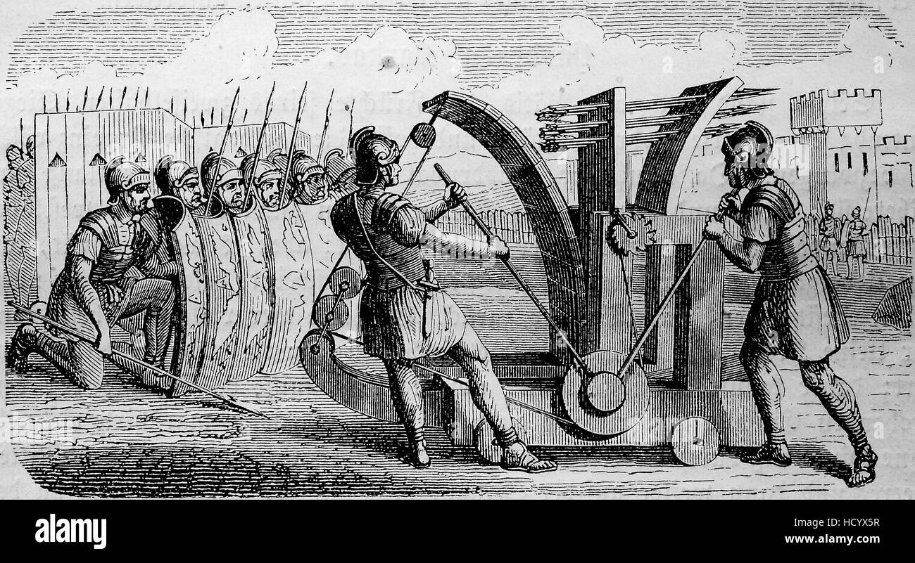 catapult for arrows, used by the roman soldiers in 210 BC, the story of the ancient Rome, roman Empire, Italy - Stock Image