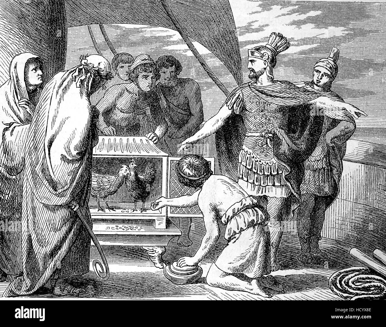 Publius Claudius Pulcher, a Roman politician and the oracle of the holy hens, the story of the ancient Rome, roman - Stock Image
