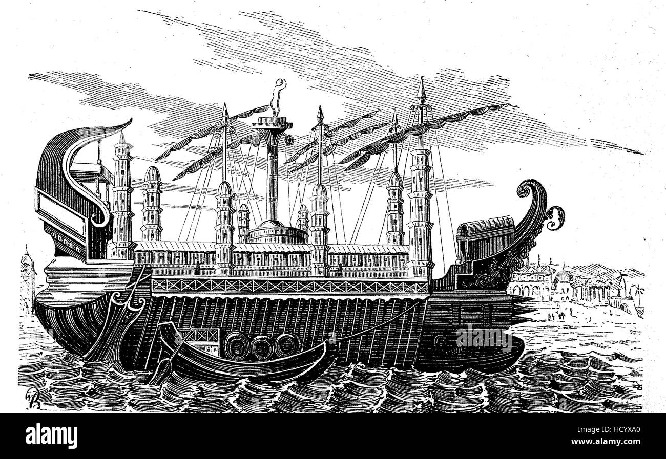 the giant ship of Hiero II., 308 BC - 215 BC, infront of Syrakus, Italy, the story of the ancient Rome, roman Empire - Stock Image