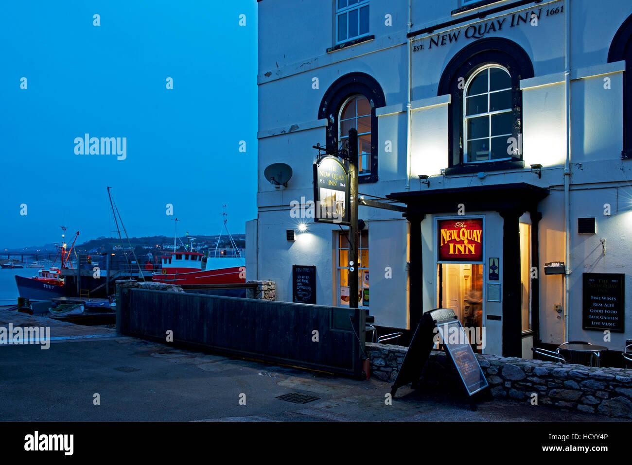 The New Quay Inn at night, Teignmouth, Devon, England UK - Stock Image