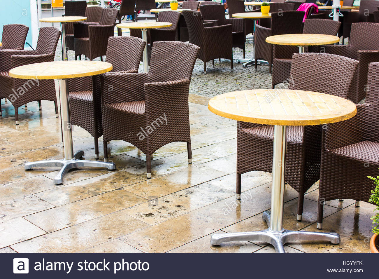 Outdoor Cafe City Rain Berlin Empty Coffee Shop Outside While Raining,  Tables Schairs Outside, Wet, Coffee Shop Table A Rainy Weather Scene