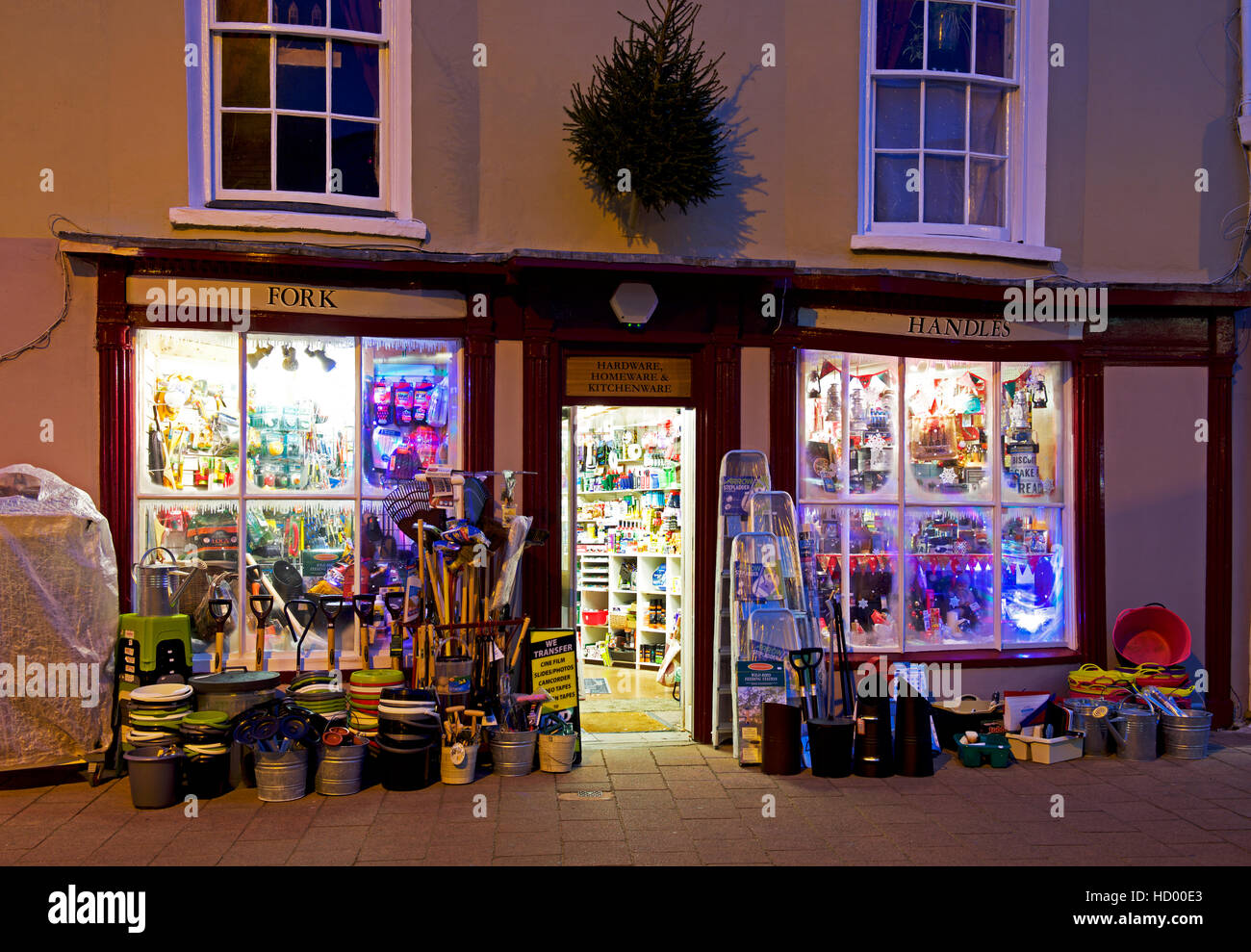 Hardware shop - Fork Handles - in Teignmouth at dusk, Devon, England ...
