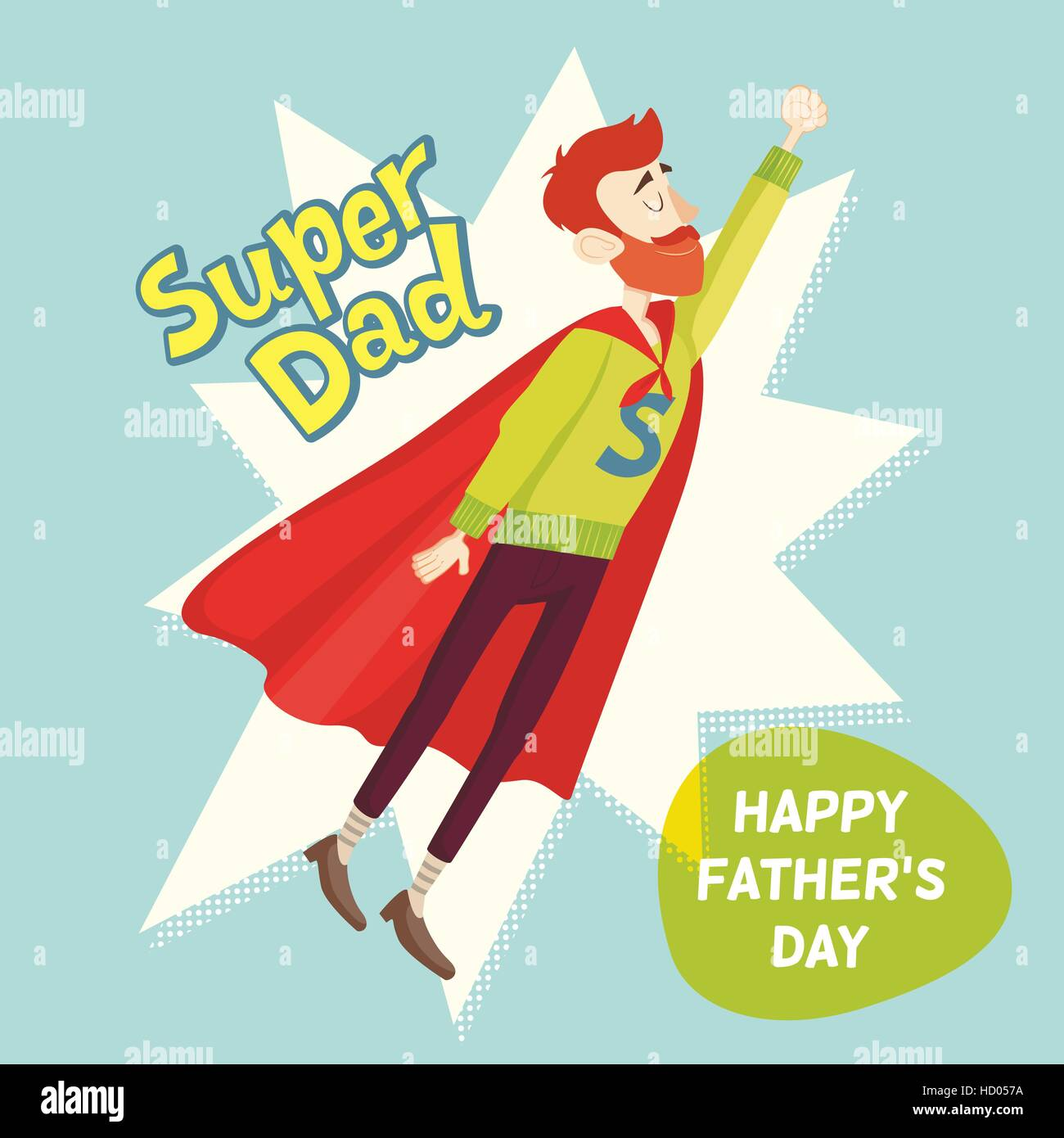 Super Dad Fathers Day Greeting Card Vector Illustration Stock