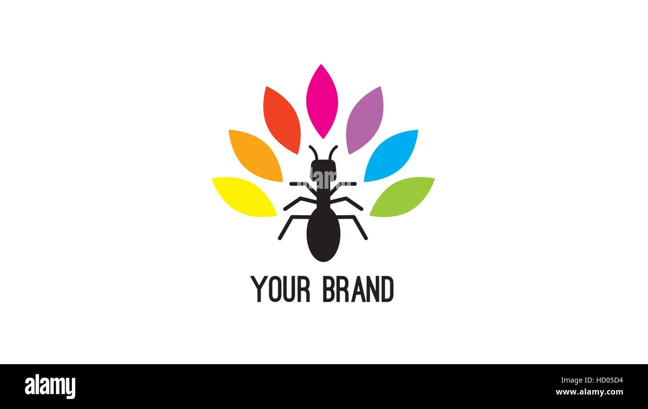 Ant  and color leaves vector logo design template - Stock Vector