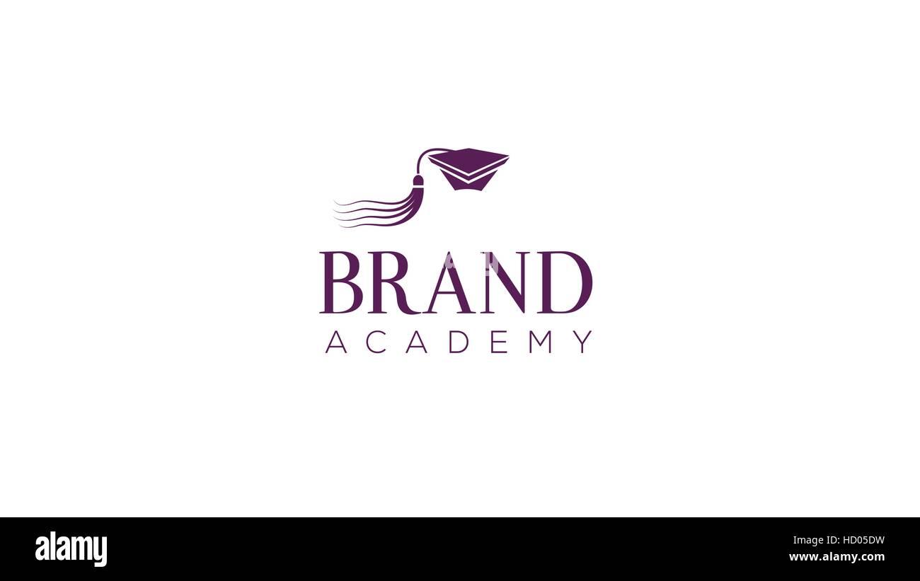Education alumni cap vector logo design template. Graduation hat vector illustration - Stock Image