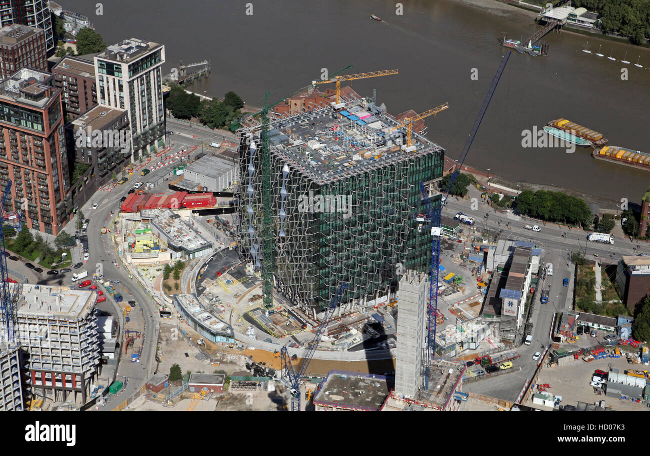 aerial view of the new US Embassy under construction on Nine Elms Lane, Battersea, London, England, UK - Stock Image