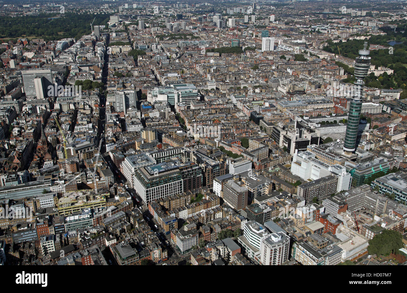 aerial view of the Fitzrovia district of London looking towards Mayfair, England, UK - Stock Image