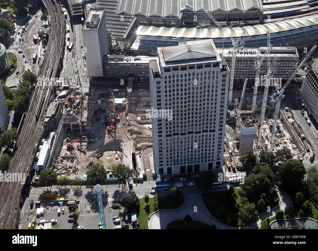 aerial view of The Shell Centre Redevelopment Project on London's South Bank, England, UK - Stock Image