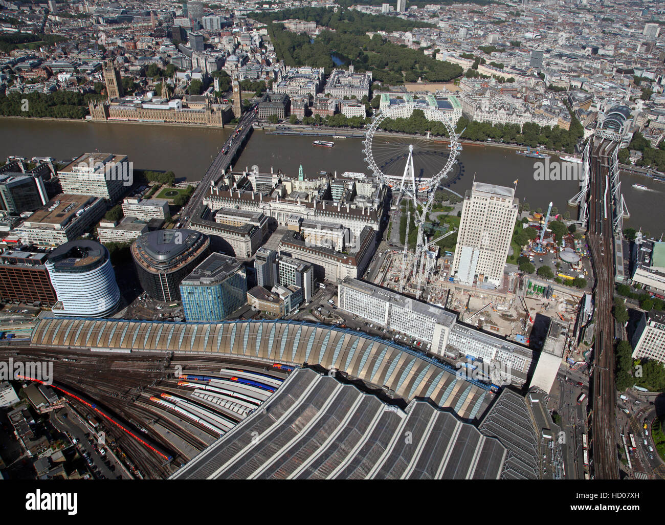 aerial view of The Shell Centre Redevelopment Project on London's South Bank, England, UK Stock Photo