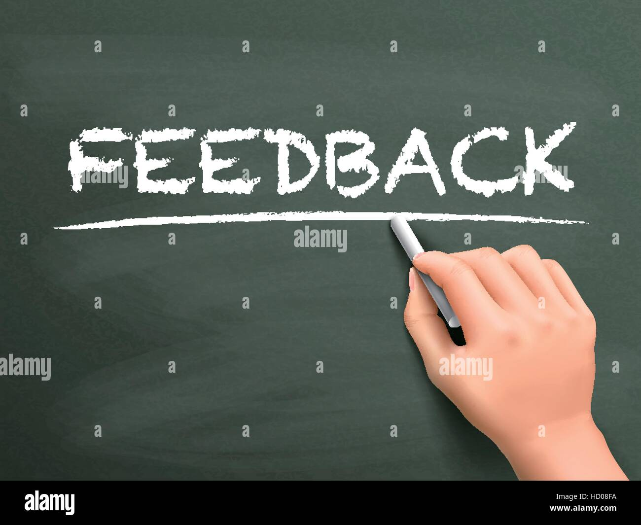 feedback word written by hand on blackboard - Stock Vector