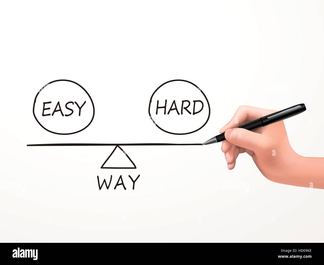 balance between ways of reaching a solution drawn by human hand over white background - Stock Image