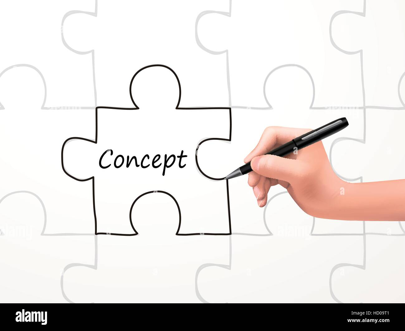 concept word and puzzle drawn by human hand over white background - Stock Vector