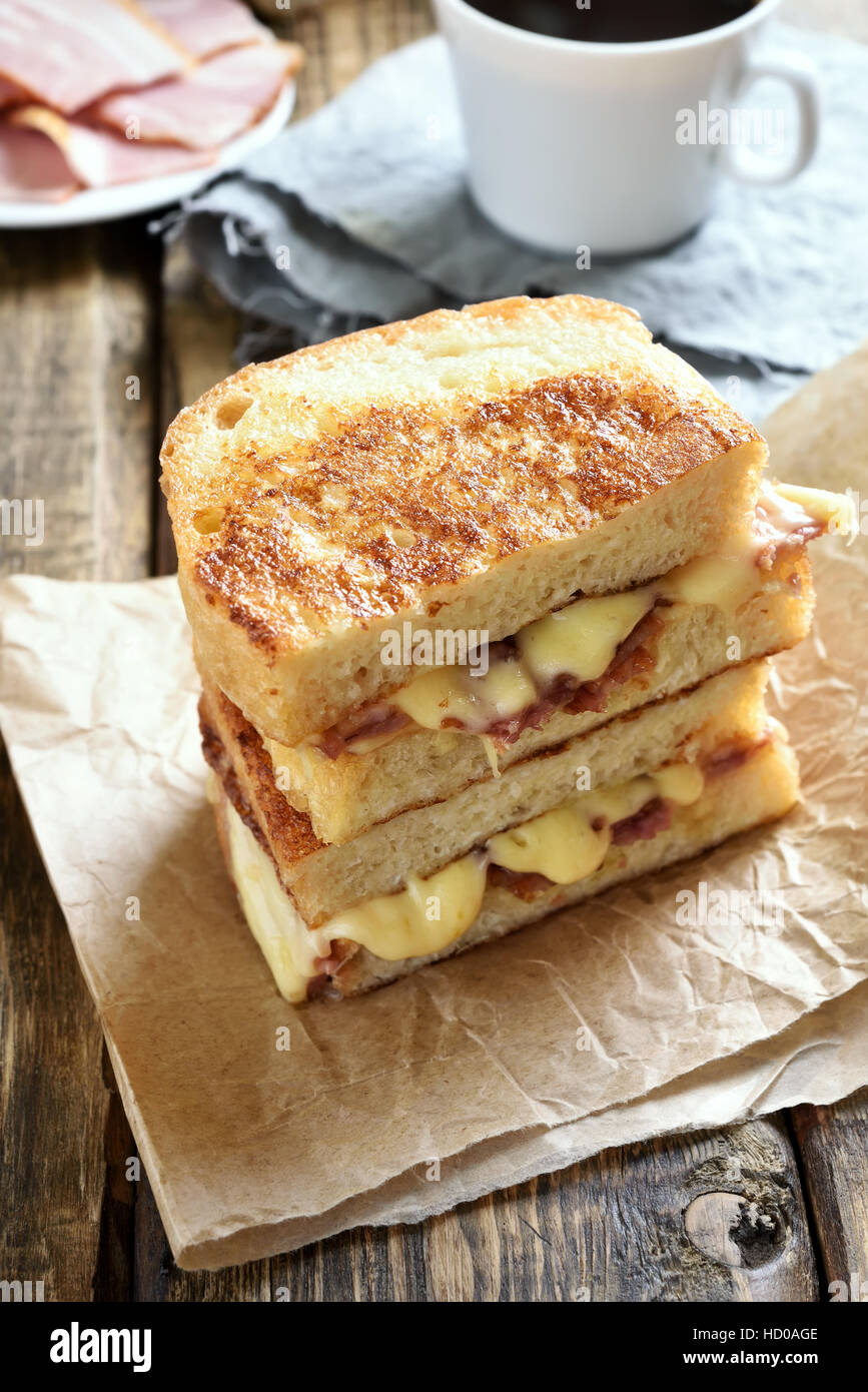 French toast, grilled cheese sandwich for breakfast - Stock Image