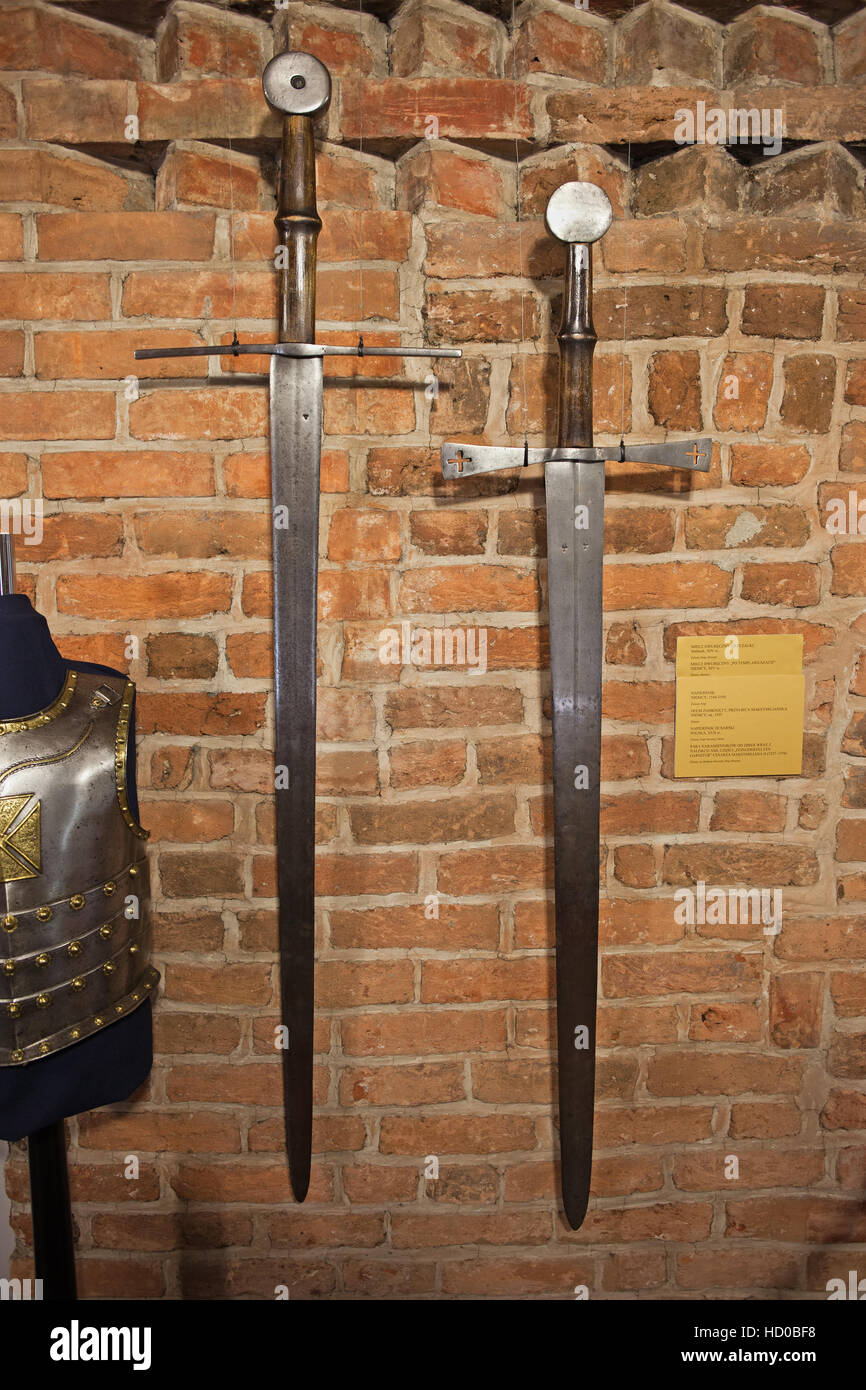 Sword of Teutonic Knights Order and Knights Templar, two handed swords, double edged, medieval weapon, 14th century, - Stock Image