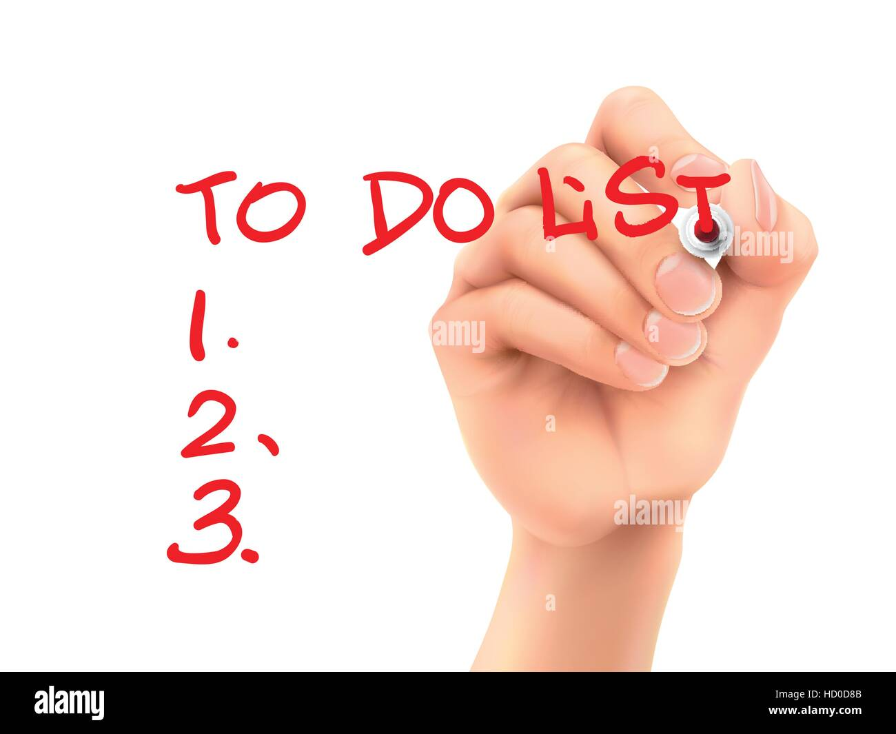 to do list words written by hand on a transparent board - Stock Vector