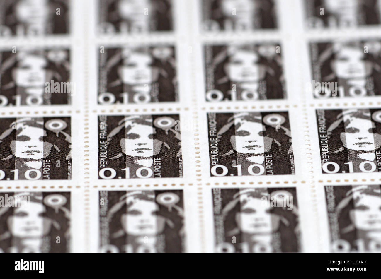 French postage stamps (1990) : 10c, Marianne de Briat Stock Photo