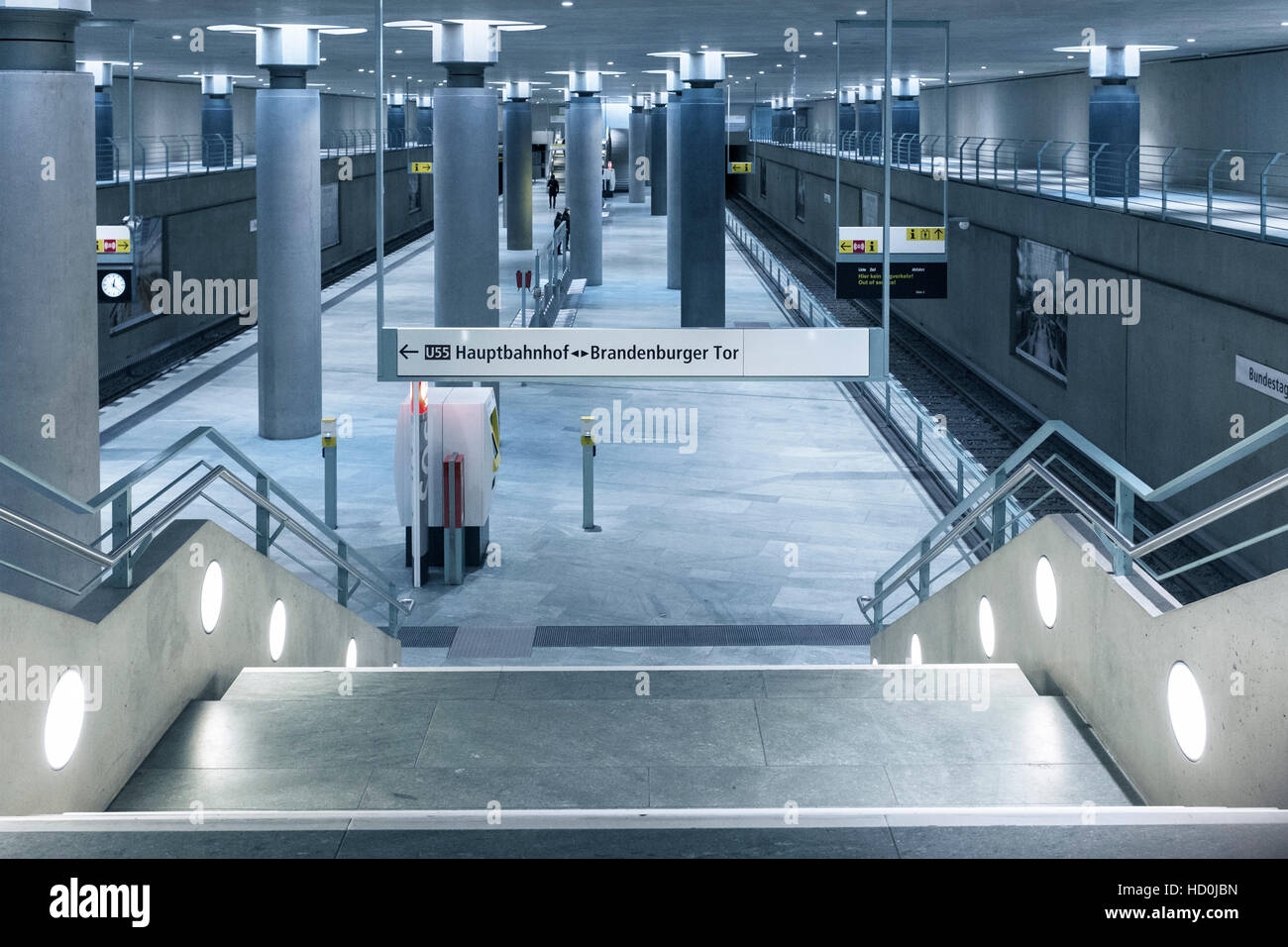 Interior of underground station at Bundestag in Berlin, Germany - Stock Image