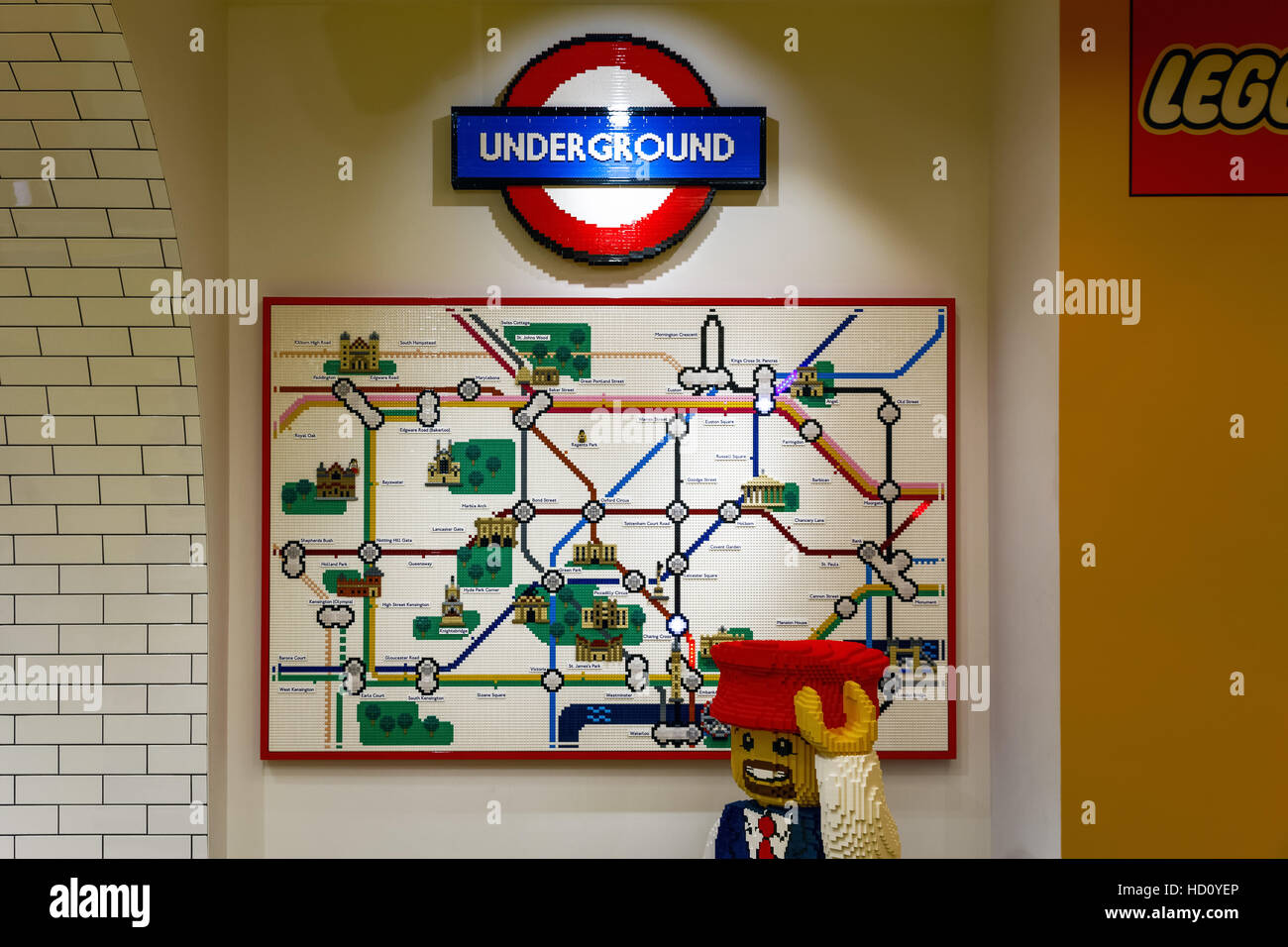 london uk november 22 2016 london underground map built from lego bricks