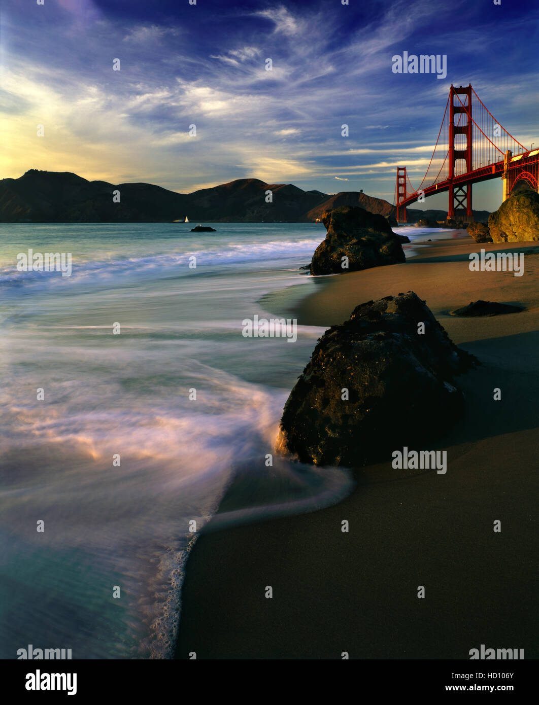 The Golden Gate Bridge During Sunset - Stock Image
