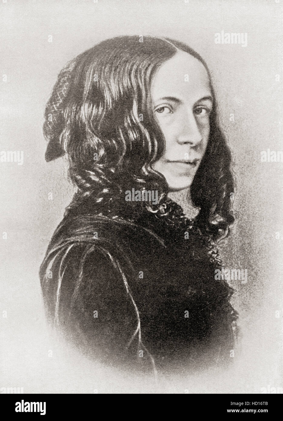 Elizabeth Barrett Browning, née Moulton-Barrett, 1806 – 1861.  English poet. - Stock Image