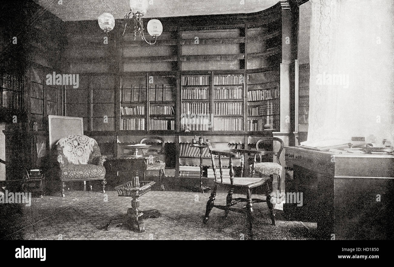 The library at Gad's Hill Place, Higham, Kent, England.  Home of Charles John Huffam Dickens, 1812 – 1870.  - Stock Image