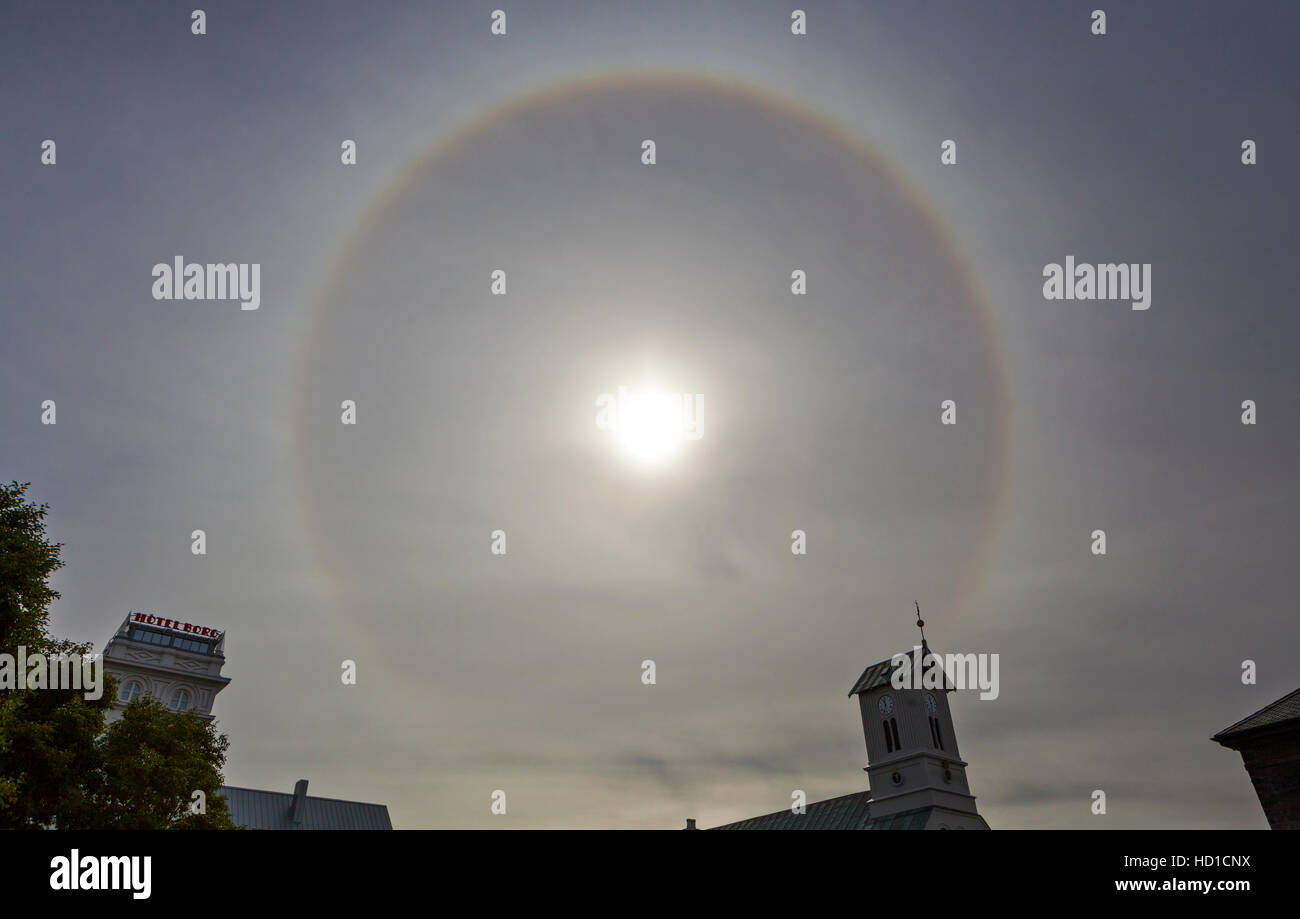 A Sun Halo in the sky over Reykjavik, Iceland. - Stock Image