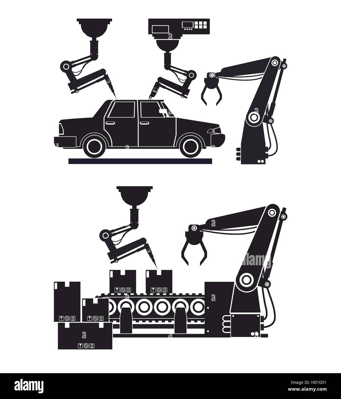 silhouette automated production line robotic factory banner - Stock Image