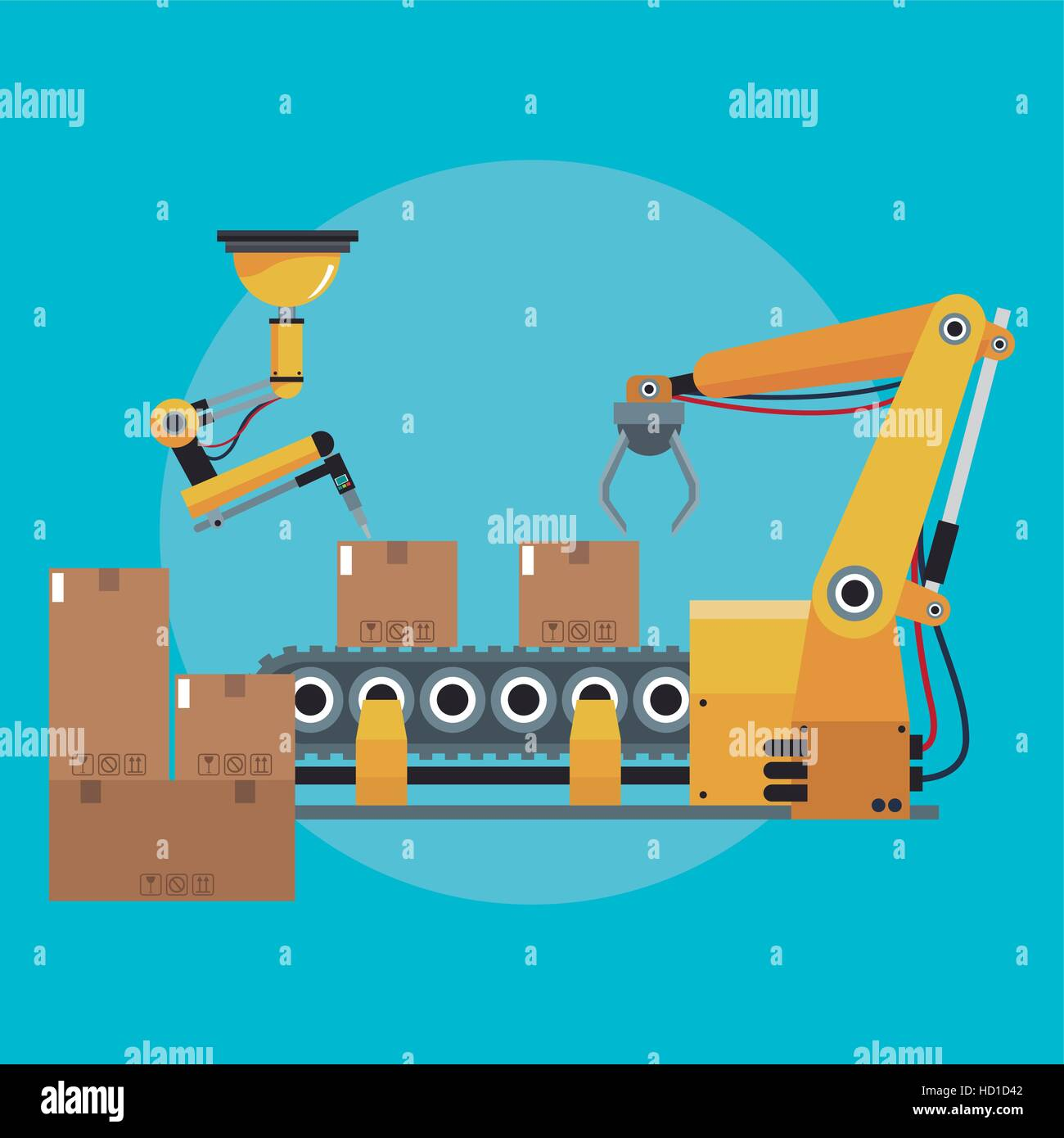 packing box automated robotic production line - Stock Image