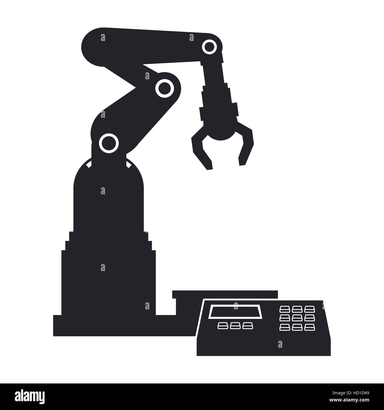 silhouette robotic production line mechanic manufacture - Stock Image