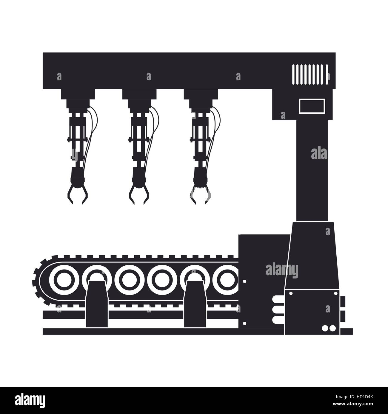 silhouette robotic production line machinery technology - Stock Image