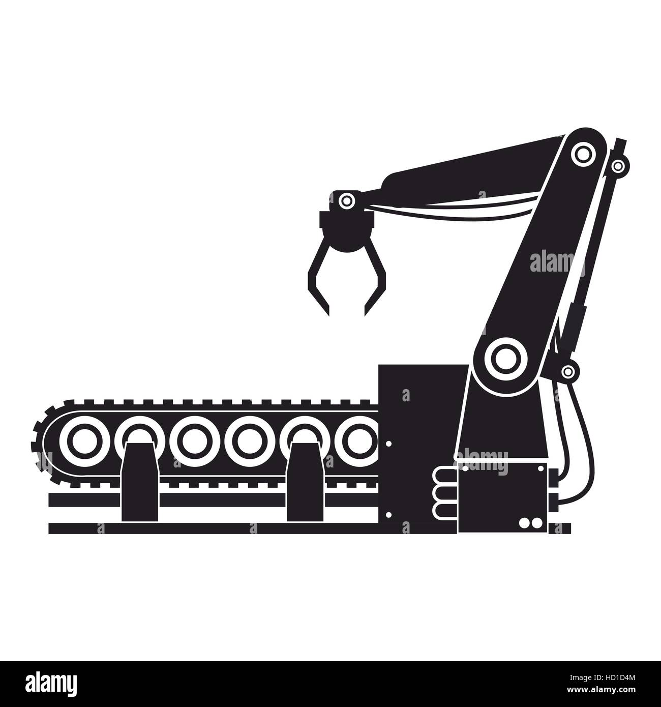 silhouette robotic production line manufacturing - Stock Image