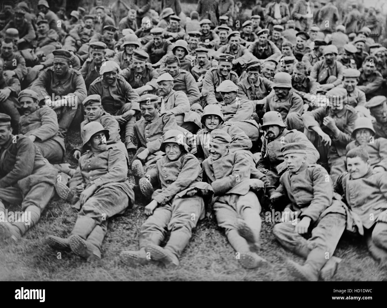 German Prisoners of War Captured by British Forces at Battle of Messines, West Flanders, Belgium, Bain News Service, Stock Photo