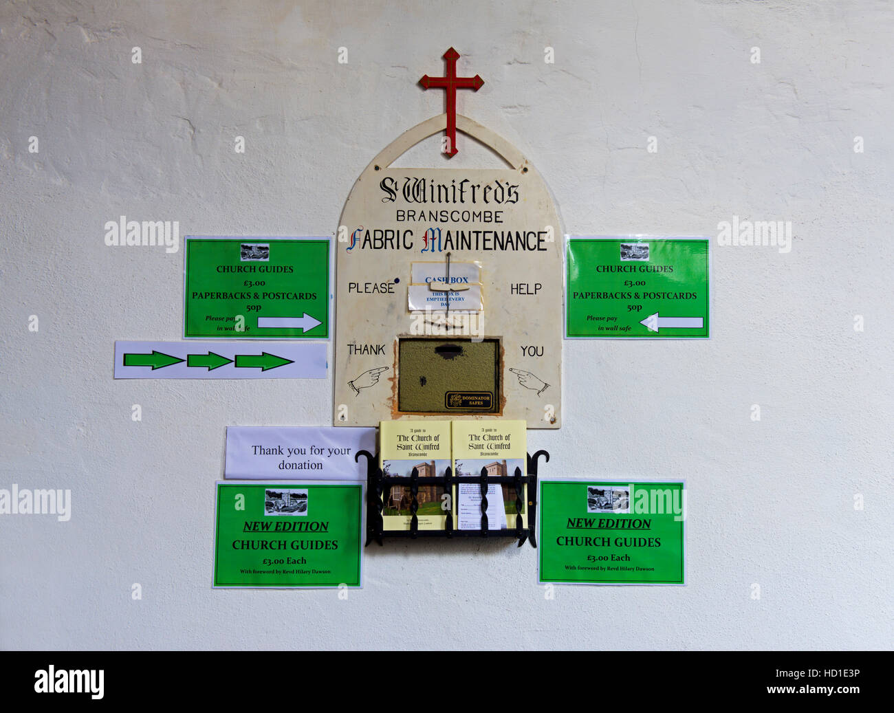 Appeal for donations at St Winifred's Church, Branscombe, Devon, England UK - Stock Image