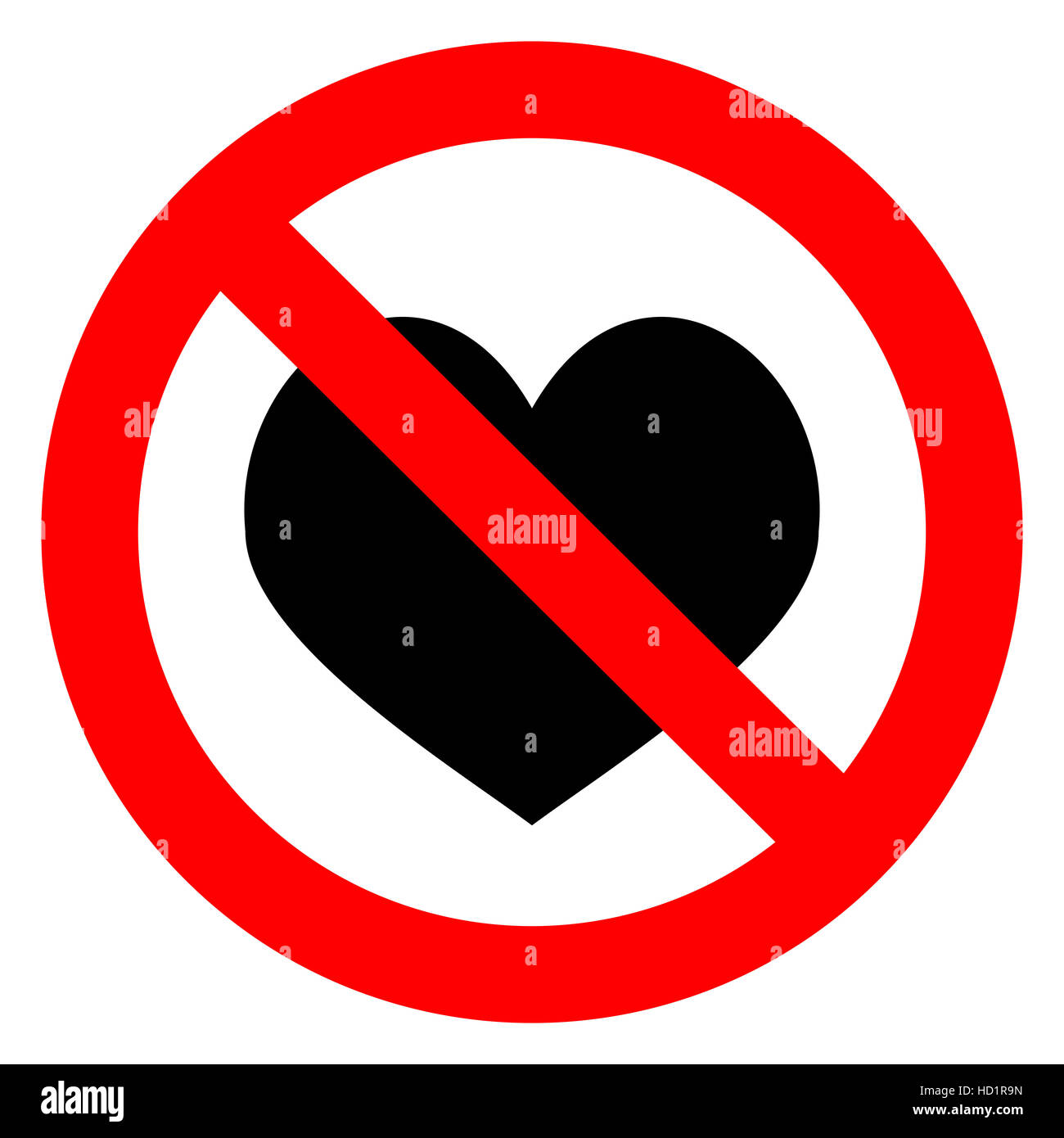 Ban Love Heart Symbol Of Forbidden And Stop Love Vector Stock