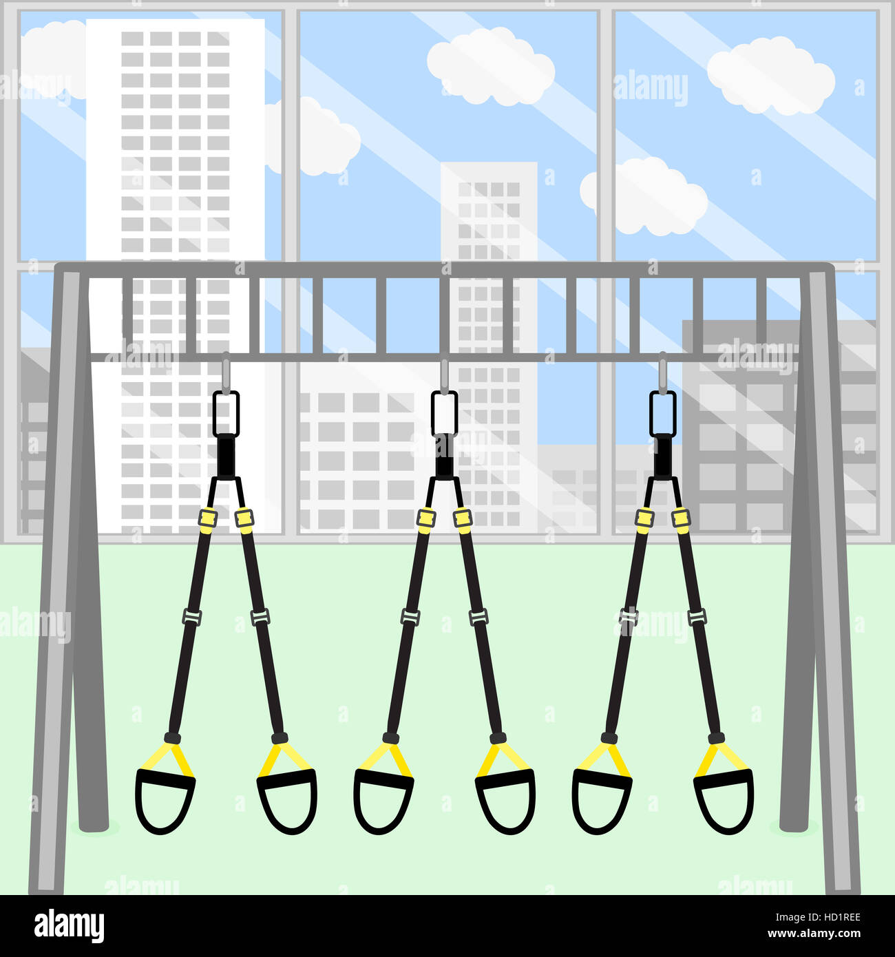 Trx gym room. Frame with hanging trx belt for stretch and training ...